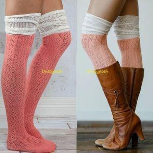 HUE Accessories - Crochet Over The Knee Socks Thigh High Peach Blue
