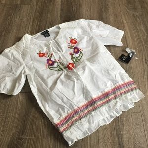 NY Collection Tops - NY Collection Peasant Embroidered Top Blouse Shirt