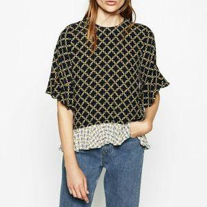 Zara Tops - Zara Printed Flounce Top