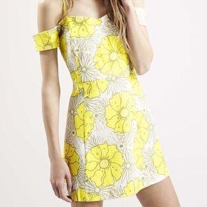 Topshop PETITE Dresses & Skirts - TopShop Petite Yellow Floral Print Bardot Dress