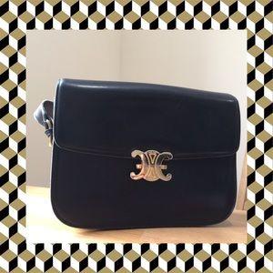Vintage Celine bag - black leather gold logo