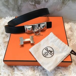 Hermes Accessories - Auth Hermes H & Medor Belt Buckle Reversible Set