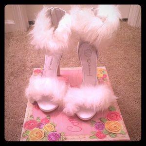 Jeffrey Campbell Shoes - White Faux Fur Jeffery Campbell Heels