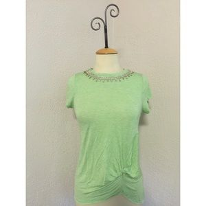 Naked Zebra Tops - NWT Naked Zebra Green T-Shirt with Crystal Collar