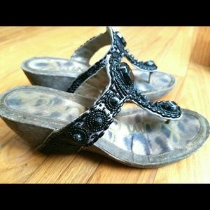 Sam Edelman Shoes - Sz 7 -Sam Edelman black rhinestone beaded thongs