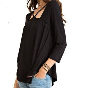 Tops - Black Stretchy Criss-Cross Swing Top