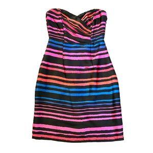 NWOT H&M Strapless Black, Pink, Blue Striped Dress
