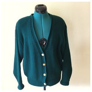 Sweaters - Vintage Oversized Cardigan in Hunter Green