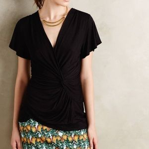 Anthropologie Tops - Deletta Faux Wrap Short Sleeve Top