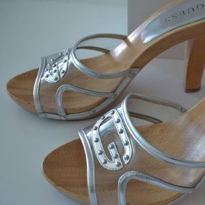 Guess Shoes - 🌴 ☀️ 🌺  😎GUESS Wooden Platforms White or Silver