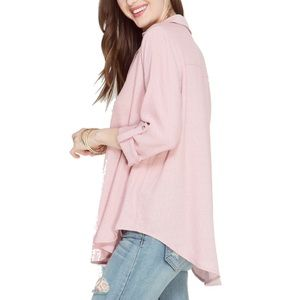Tops - Solid Long Sleeve Rolled Up Detail Shirt