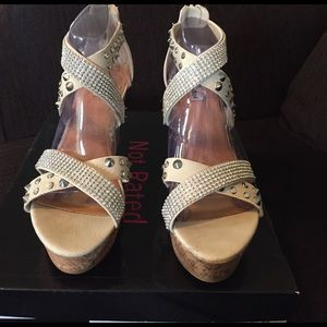 Not Rated Shoes - Not Rated Cream Cork Wedges