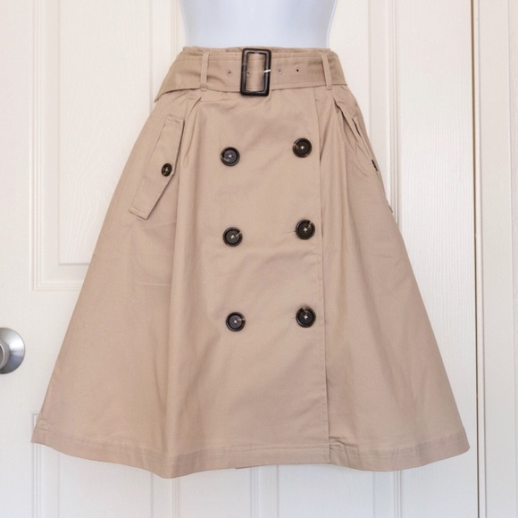 3adabbd260 ModCloth Skirts | Belted Trench Skirt In Khaki Xs | Poshmark