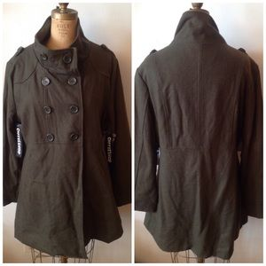 CoffeeShop Jackets & Blazers - Army green double breasted stand collar coat