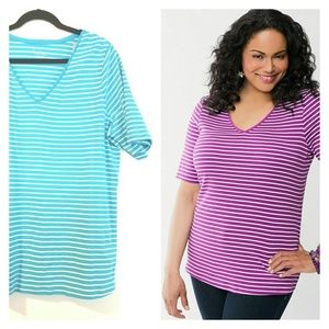 Lane Bryant 16 Turquoise Striped Perfect Tee