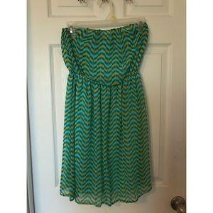 Green Chevron Strapless Dress