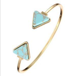 Turquoise Stone Boho Gold Cuff