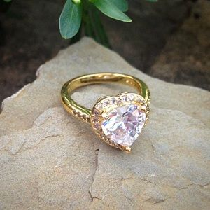 Jewelry - Diamond Heart Halo Gold Filled Ring