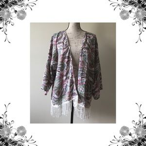 ELAN Tops - ELAN Fringe Kimono Coverup