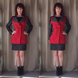 Jackets & Blazers - NWT RED JACKET WITH BLACK FAUX LEATHER SLEEVES