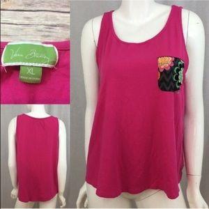 Vera Bradley Tops - 💄Sz XL Vera Bradley Pink Tank Top Pocket Design