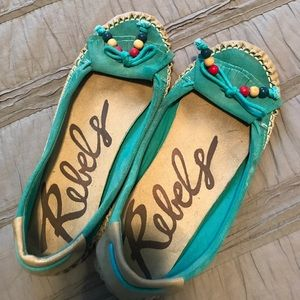 Turquoise moccasins