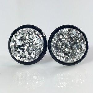 thejeweladdict Jewelry - 3 for 15🎀chunky silver faux druzy black studs