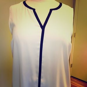 Pure Energy Tops - Ivory & black dress shirt. Very slimming!