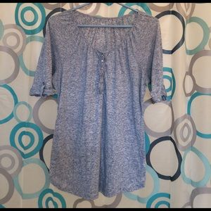 Indigo Blue Tops - Indigo top gray short sleeve roll up medium nice