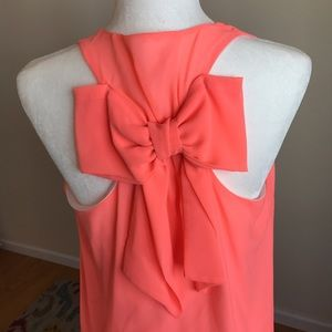 sage Dresses & Skirts - Hott Coral Dress w/bow detail