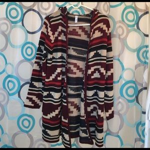 Indigo Blue Sweaters - Indigo hooded shrug Aztec design nice medium