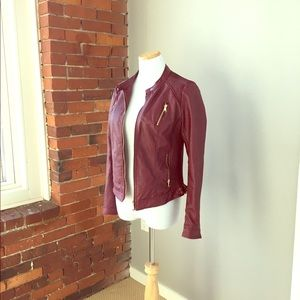 Jackets & Blazers - Burgundy Pleather Jacket