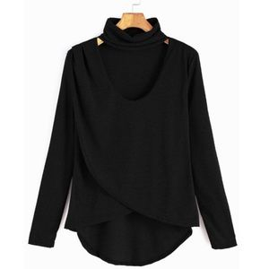 Tops - Black Dip Hem Choker Neck Wrap T Shirt Blouse