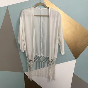 Tops - White weaved chiffon kimono