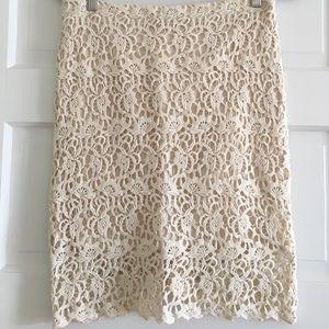 Cream crochet pencil skirt
