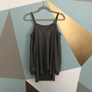 Tops - Open shoulder metallic grey top