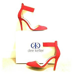 dee keller Shoes - Red Suede Ankle Strap Pumps