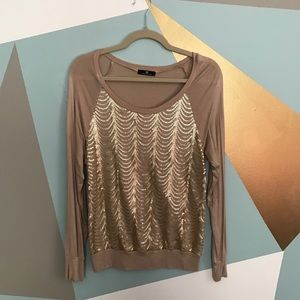 Tops - Tan and gold sequined long sleeve soft top