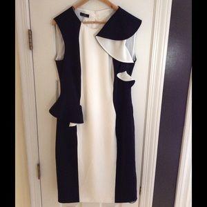 Basler Dresses & Skirts - NWT Basler black & white ruffle peplum dress