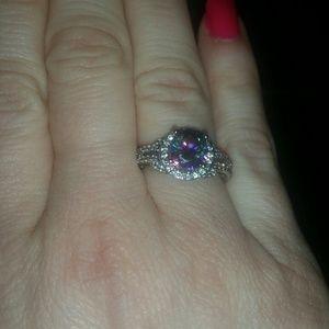 Zales Jewelry - Natural Rainbow Mystic Topaz  925 Halo Ring