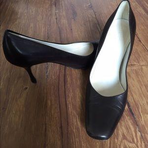 Jil Sander Shoes - Jil Sander Brown leather square toe pumps
