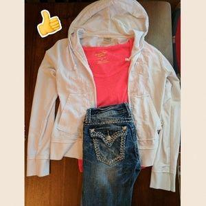 Shyanne Tops - Shyanne white zip-up hoodie