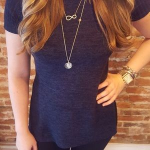 Tops - High Low Mock Neck Navy Ribbed Top