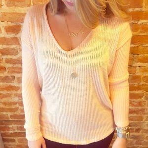 LAST ONE- L- Peach Light Knit Sweater in Pink