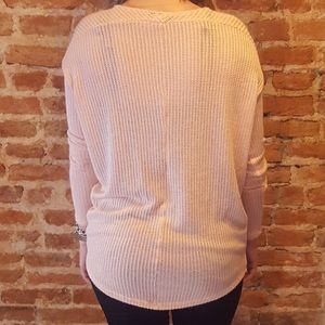 Sweaters - LAST ONE- L- Peach Light Knit Sweater in Pink