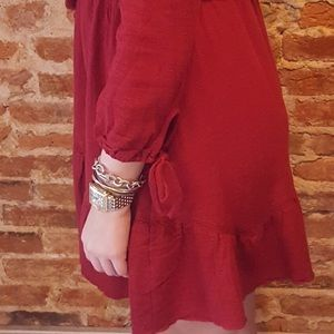 Dresses - Burgundy Lace Front Cotton Dress