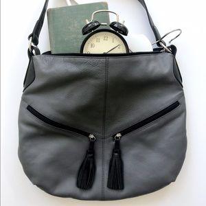 Grey & Black Tassel Leather Bag