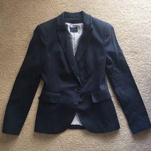 Zara Jackets & Blazers - Casual Navy Blue Blazer with Stripe Lining