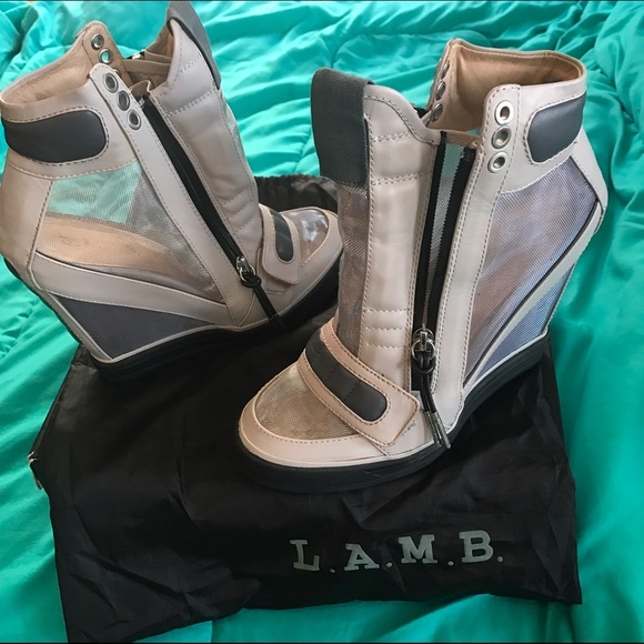 db255c32ddf7 L.A.M.B. Shoes - L.A.M.B Stephanie Gray Mesh Wedge Sneaker New