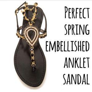 Shoes - ☀️Black and gold anklet sandal